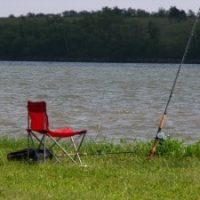 Lake fishing, fishing chair