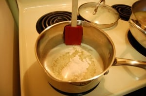 Making bechamel - add flour to melted butter