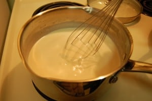 Making bechamel - whisk until smooth and thickened