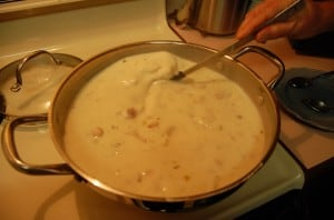 Add bechamel to the potato soup