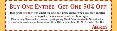 Abuelos coupon: Buy One, Get One Half Off June 2013