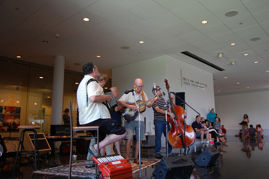 Band playing at Wichita Art Museum's free summer ice cream social
