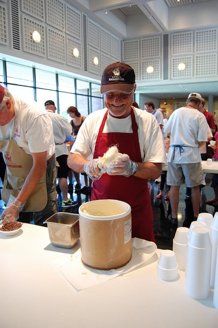 Scooping up ice cream for Wichita Art Museum's Summer Birthday Bash