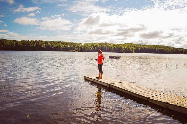 Vacation Rental advantage: on the lake learning how to fish at the cottage we rented