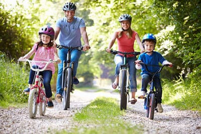 Family bicycling riding bicycles