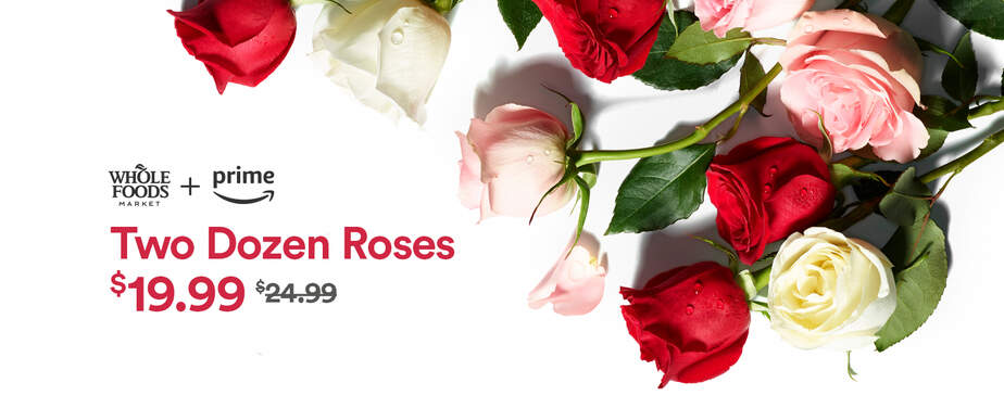 Amazon Whole Foods two dozen roses Valentines Day
