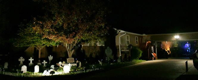 Cemetery of Fright house in Wichita decorated up for Halloween visitors