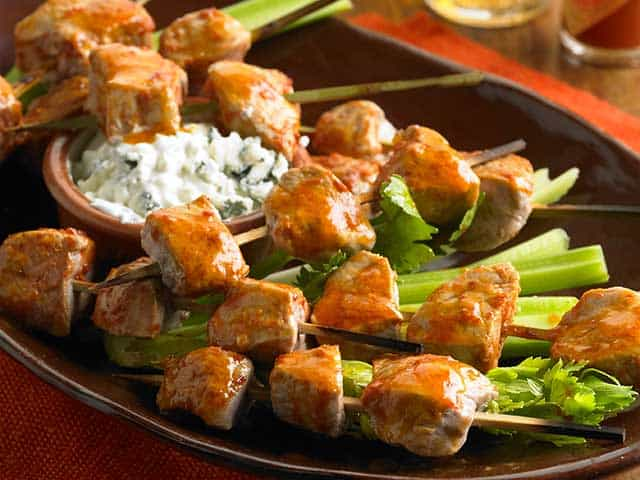 Buffalo pork skewers recipe with homemade blue cheese sauce