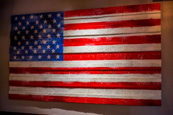 Flag on the wall at Bricktown Brewery
