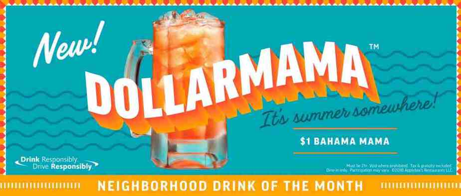 Applebee's Dollar Bahama Mama drink special every day this month!