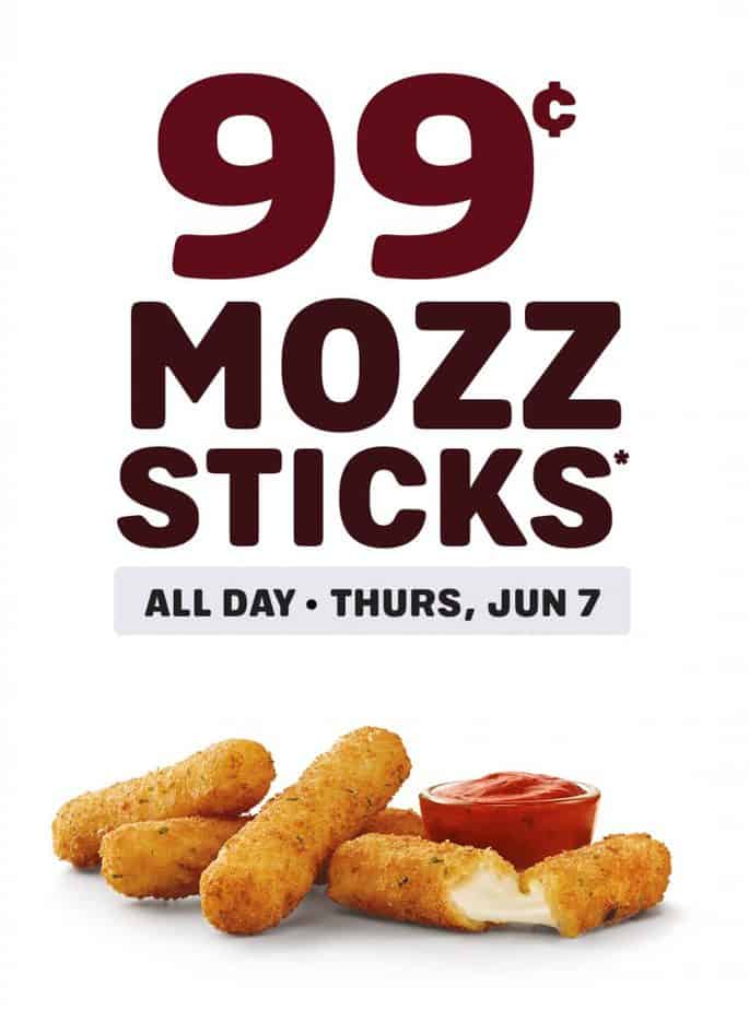 99 cent mozzarella sticks at Sonic June 7