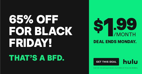 Hulu Thanksgiving, Black Friday, Cyber Monday deal/offer 2020