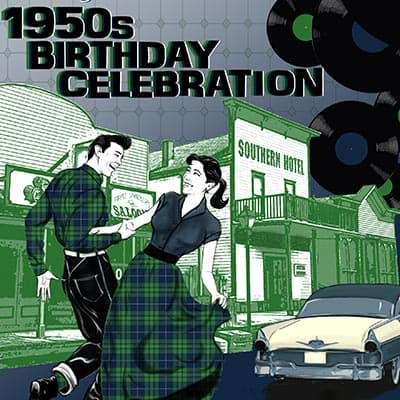 Cowtown's birthday flyer - 1950s sock hop theme