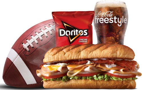 sub sandwich, football, chips and a drink from Firehouse Subs