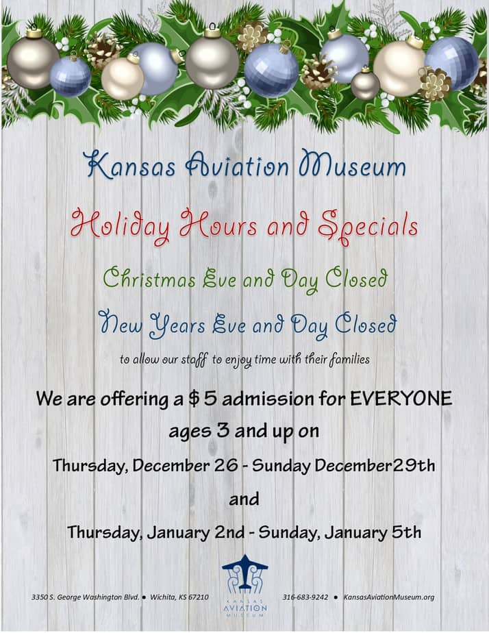 Holiday discount admission Kansas Aviation Museum
