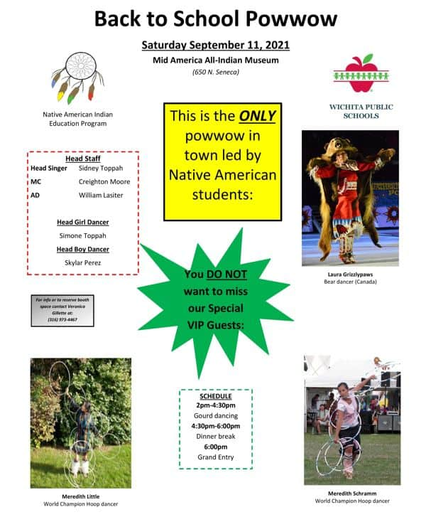 mid-america all-indian center back to school powwow flyer
