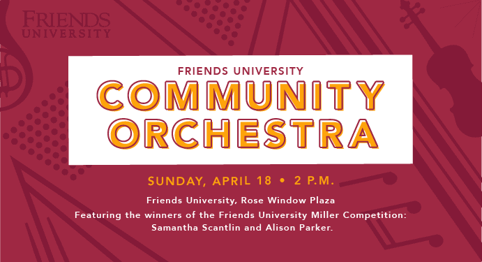 flyer for free community orchestra concert at Friends University