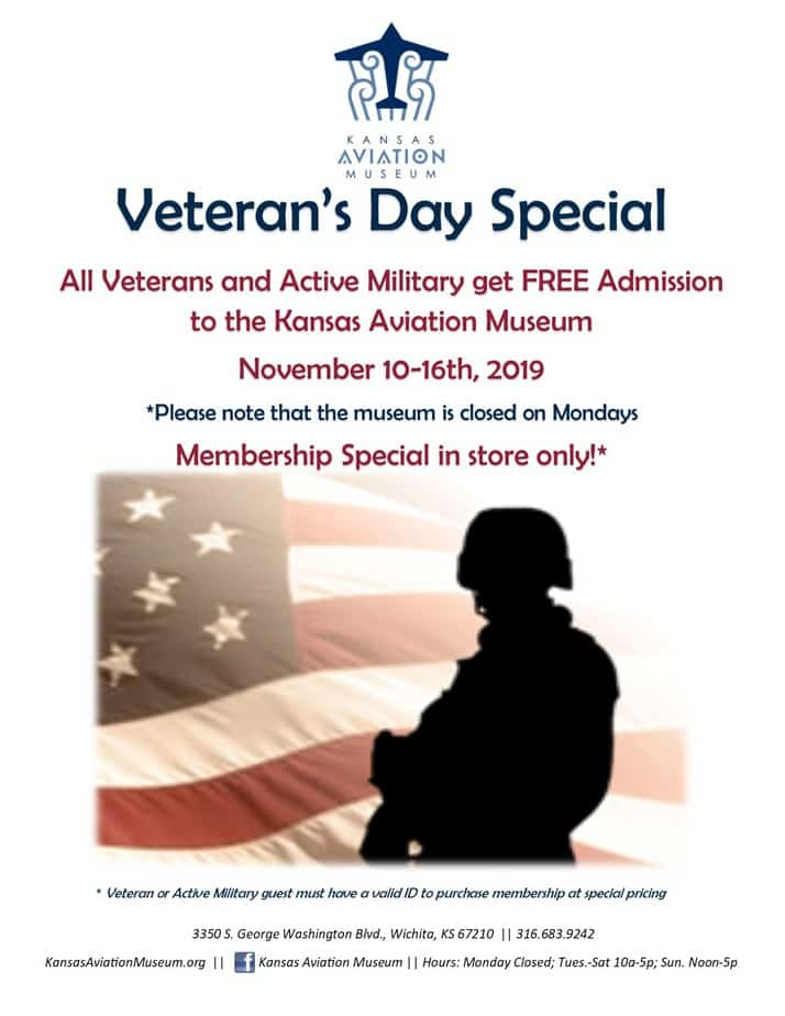 Kansas Aviation Museum Veterans Day deal - free admission and membership special for veterans and active military 2019