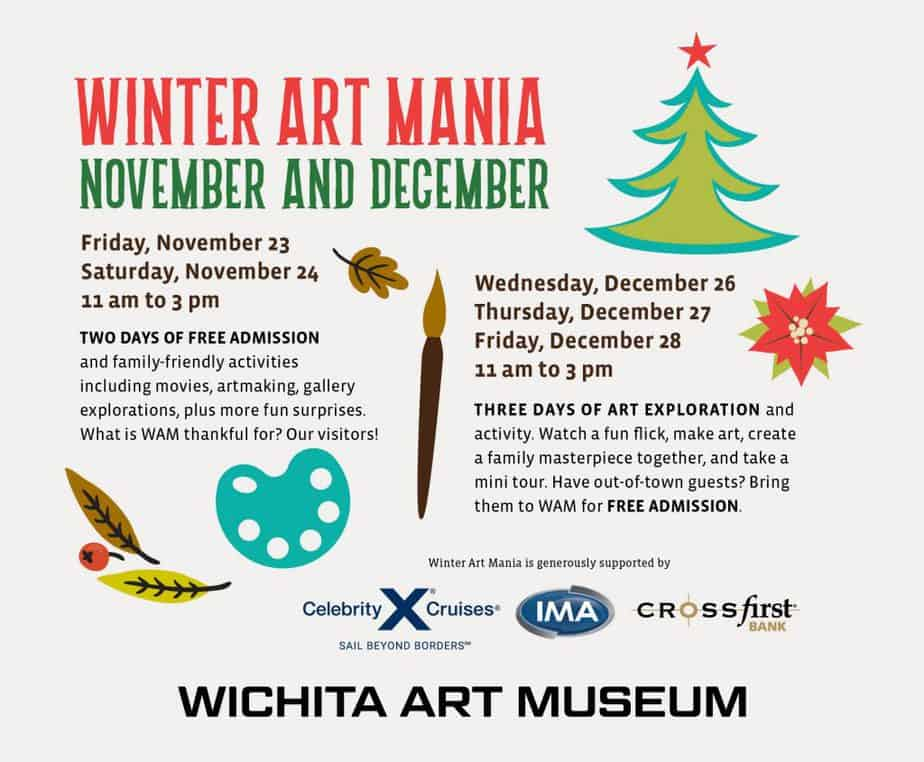 Winter Art Mania 2018 at the Wichita Art Museum during Thanksgiving break and Winter break