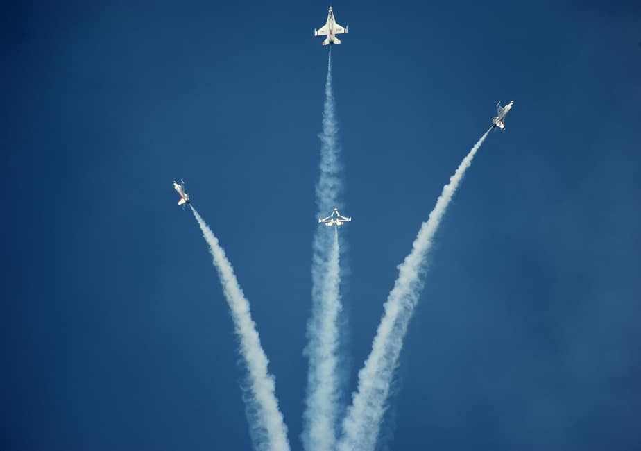 Air Force Thunderbirds performing at Wichita Air Show at McConnell