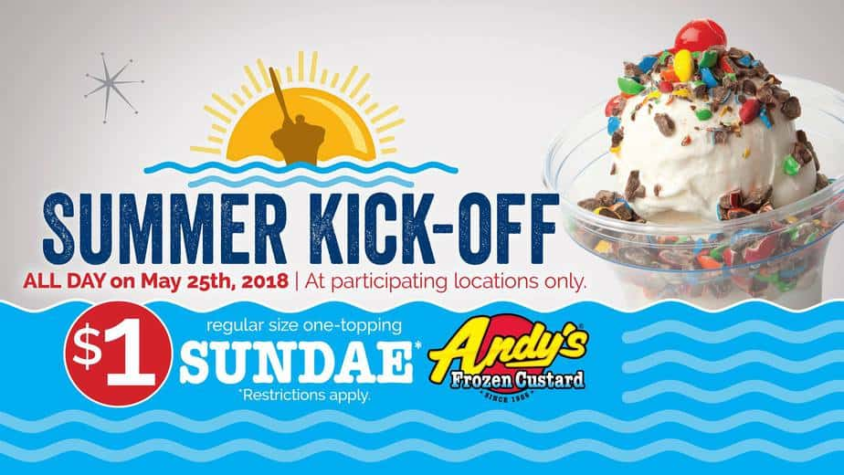 Andy's Frozen Custard 1 sundae Summer Kickoff 2018