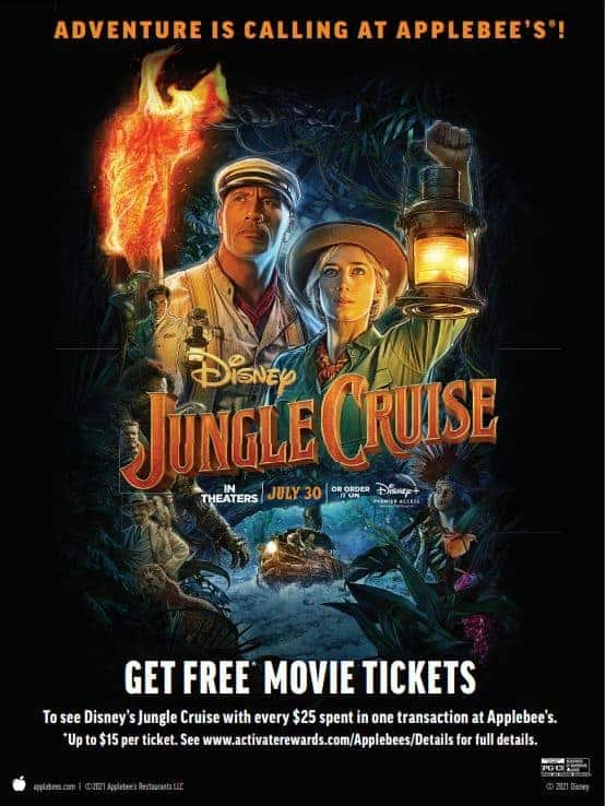 free jungle cruise tickets from applebees