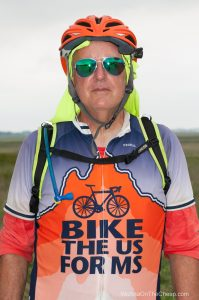 Bike the US for MS cyclist - happy to be in Kansas with long flat stretches of road and the wind behind them