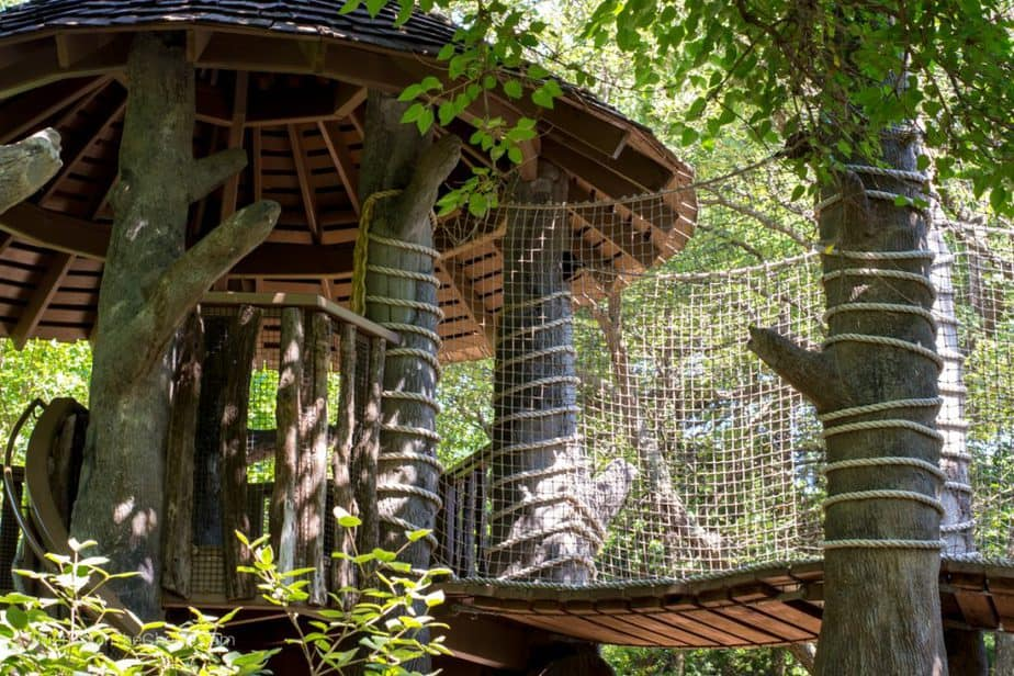 Treehouse fort in Botanica Wichita children's garden