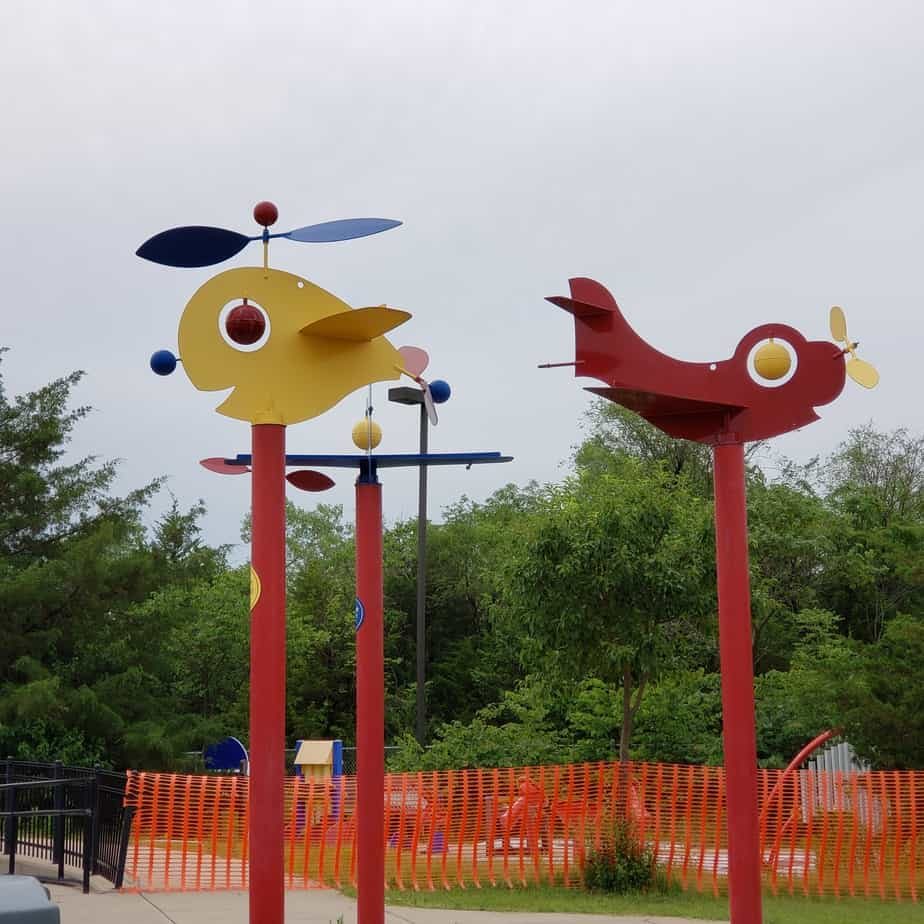 Cute and colorful weather vanes at Sedgwick County Park playground