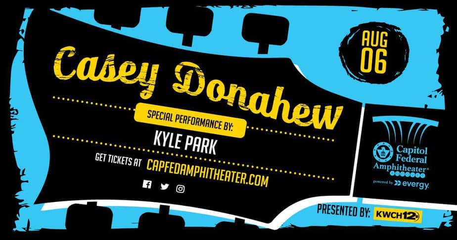 flyer for casey donahew concert in wichita, ks area at capitol federal amphitheater, andover central park