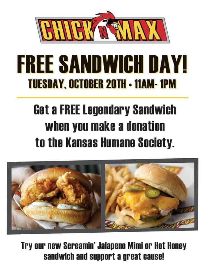 Free sandwich at chick n max to benefit humane society