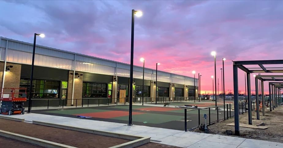 pickleball courts at night at Chicken N Pickle Wichita