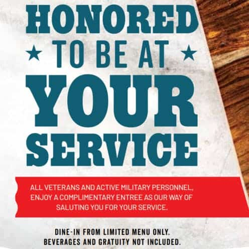 Chili's free veterans day entree 2019