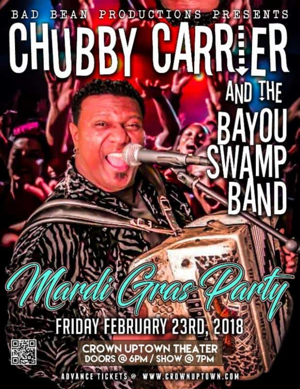 Mardi Gras Party featuring Chubby Carrier at Crown Uptown Wichita KS on Feb. 23