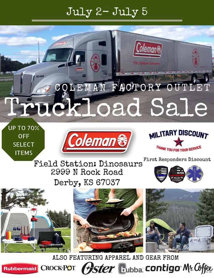 Flyer for Coleman Factory Outlet Truckload Sale in Wichita KS