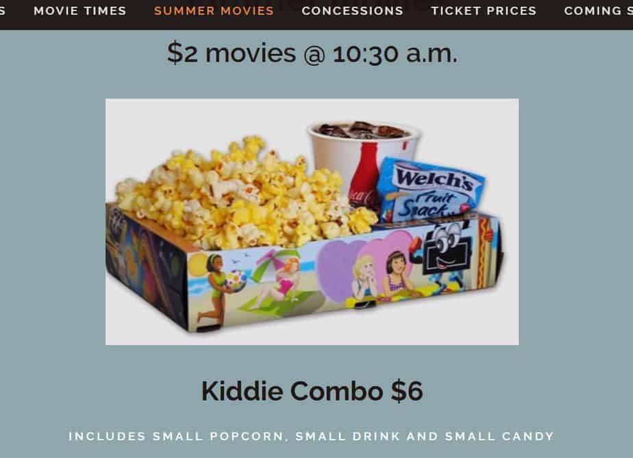 derby theater website showing kids summer movies and popcorn deal