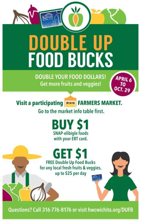 Double-up food bucks at Wichita area farmers markets spring, summer, fall 2019