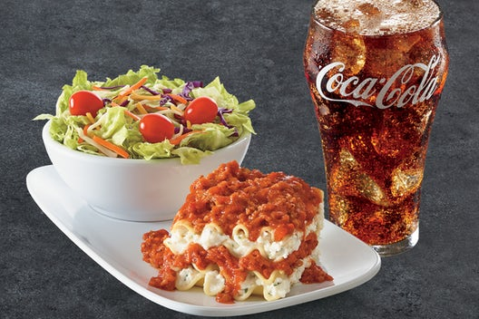 Fazoli's lunch special: side salad, lasagna and soft drink