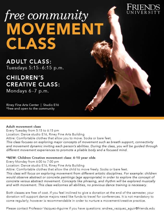 Free movement classes for adults and children at Friends University