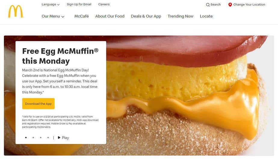 FREE Egg McMuffin at McDonald's on March 2