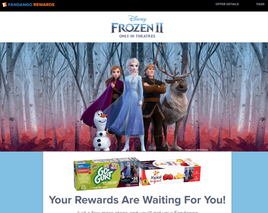 Free Frozen II movie ticket offer fandango yoplait