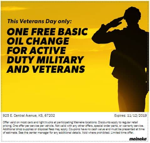 Meineke Oil Change >> Free Oil Change For Military And Veterans At Meineke Car