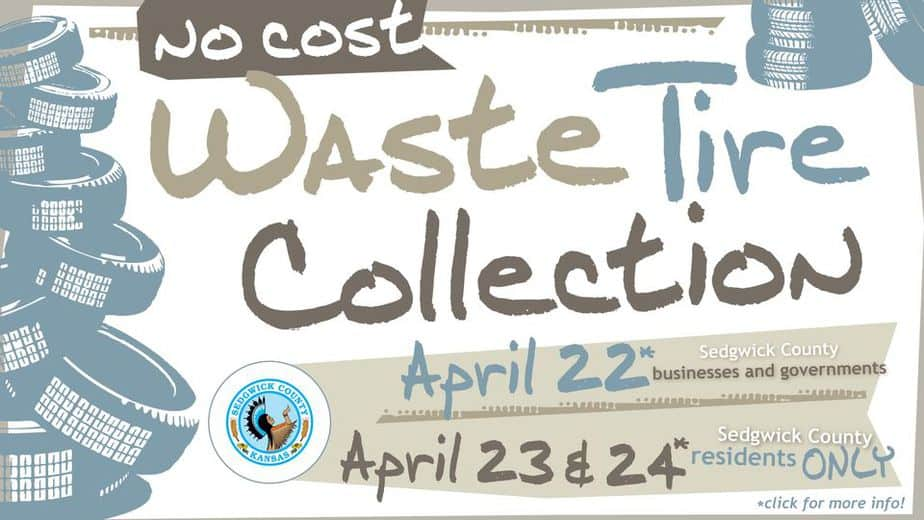 flyer: free waste tire collection for Sedgwick County Residents and Businesses