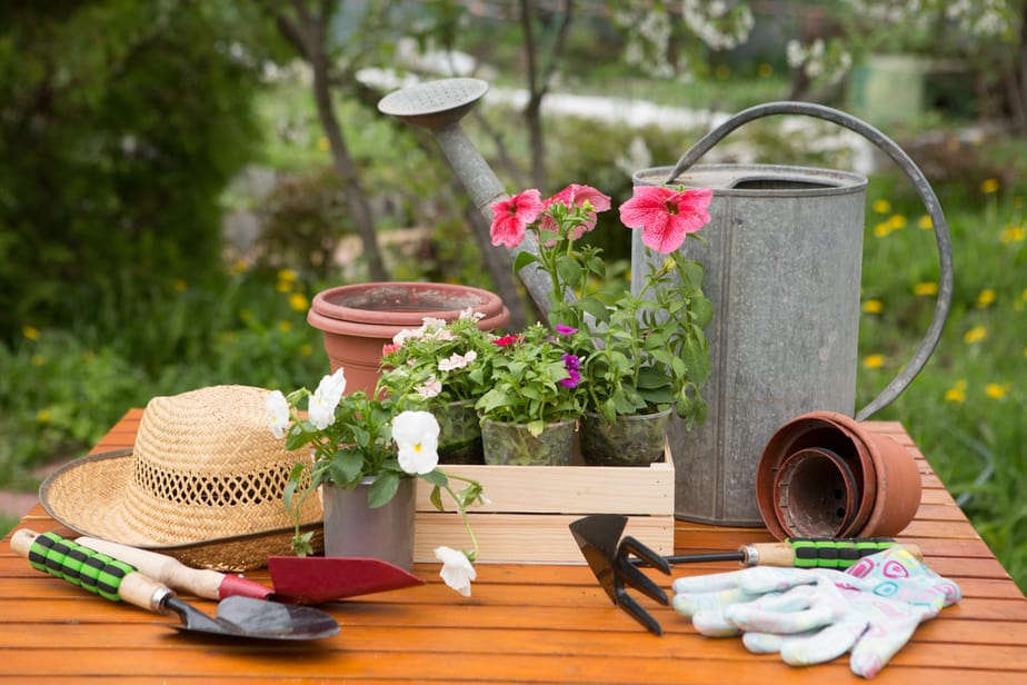 garden tools, hat and gloves on table