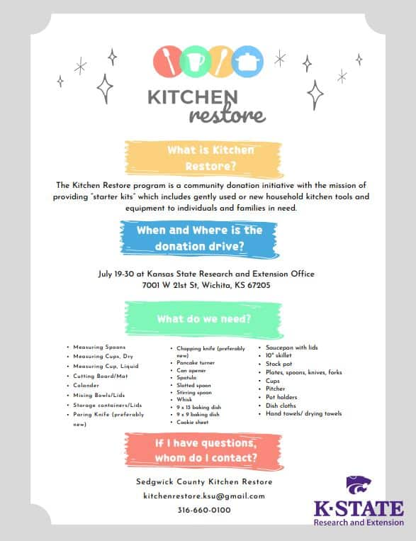 kitchen restore donation flier from k-state research and extension