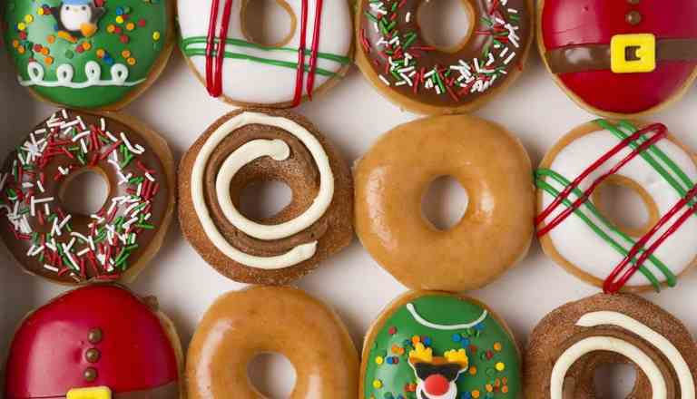 One dozen Krispy Kreme holiday doughnuts