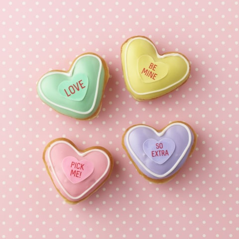 Conversation Heart doughnuts for Valentines Day from Krispy Kreme
