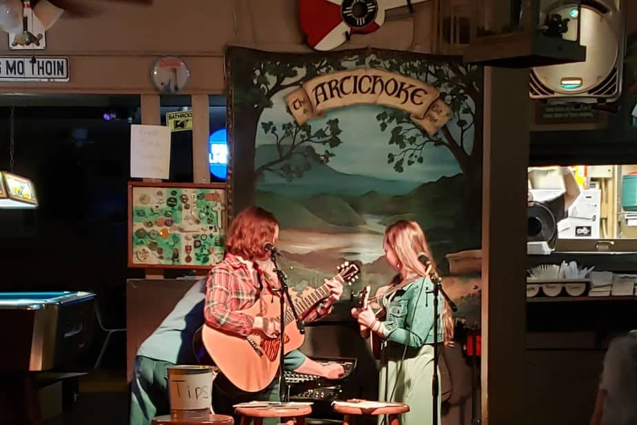 The Vogts Sisters performing live music at The Artichoke Sandwich Bar in Wichita, KS