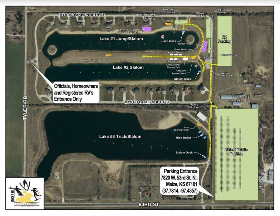 Where to park at the Maize KS Mystic Lakes Water Ski National Championships