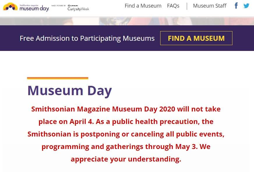april 4 smithsonian museum day not happening